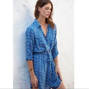 Velvet by Graham & Spencer Blue Print Shirt Dress